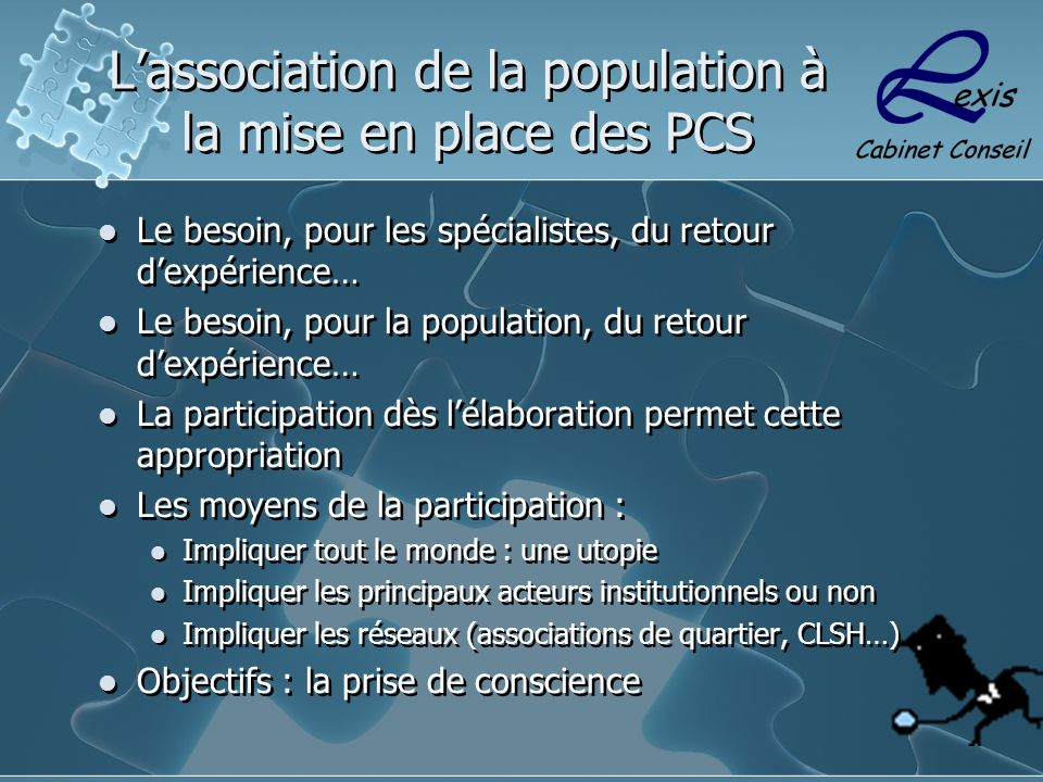 L'association de la population à la mise en place des PCS