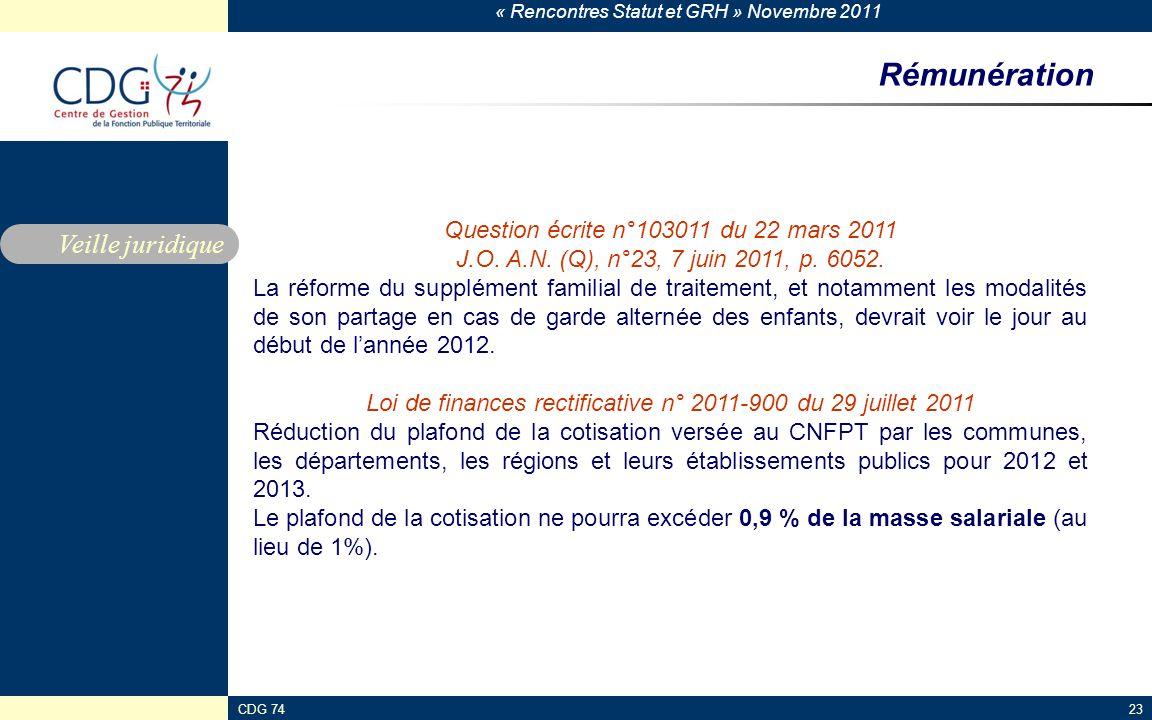 Rémunération Veille juridique Question écrite n°103011 du 22 mars 2011