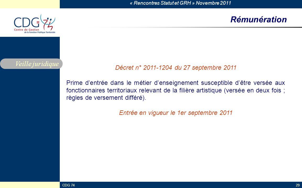 Rémunération Veille juridique Décret n° 2011-1204 du 27 septembre 2011