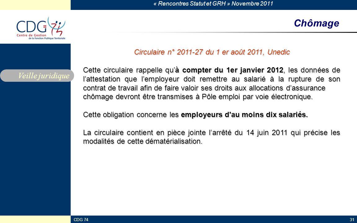 Circulaire n° 2011-27 du 1 er août 2011, Unedic