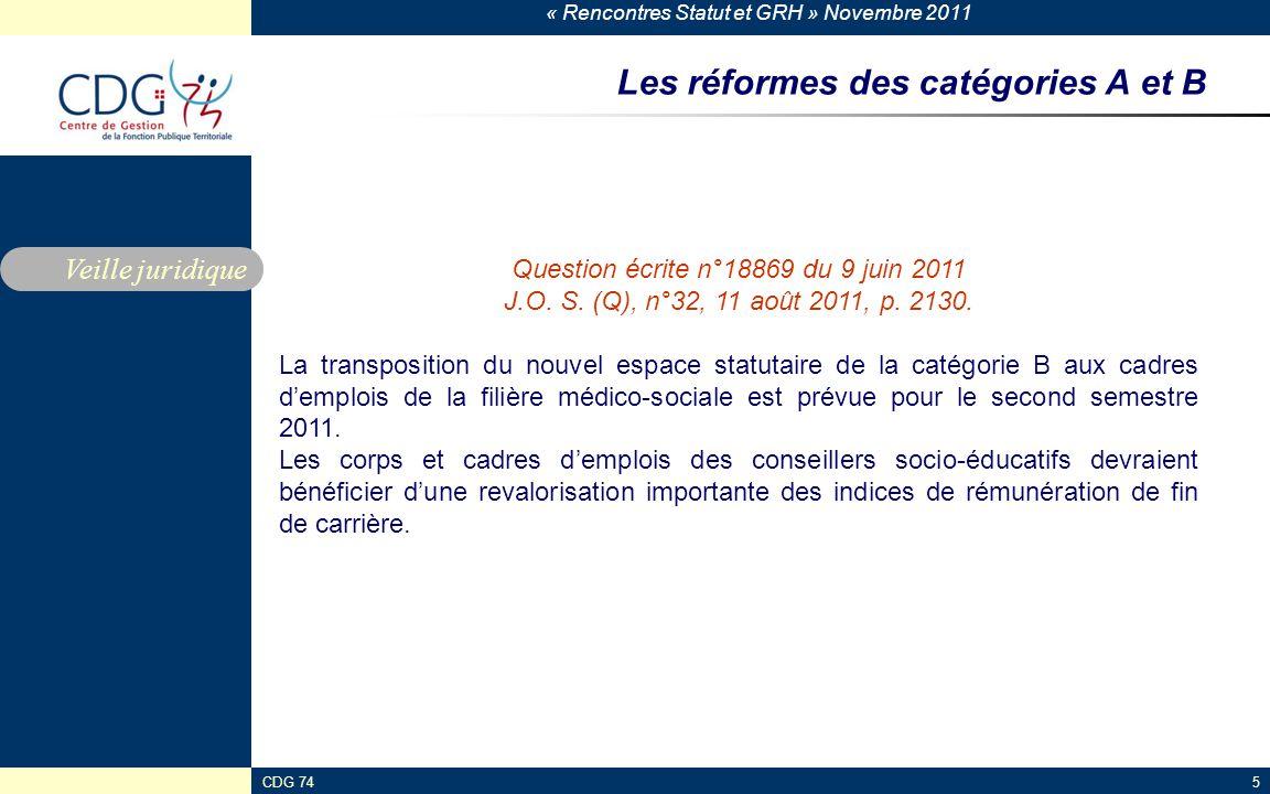 Les réformes des catégories A et B