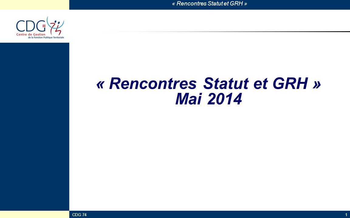 « Rencontres Statut et GRH » Mai 2014
