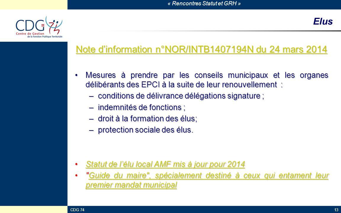 Note d'information n°NOR/INTB1407194N du 24 mars 2014