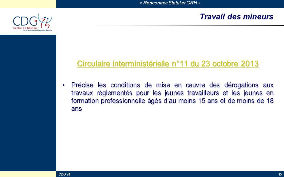 Circulaire interministérielle n°11 du 23 octobre 2013