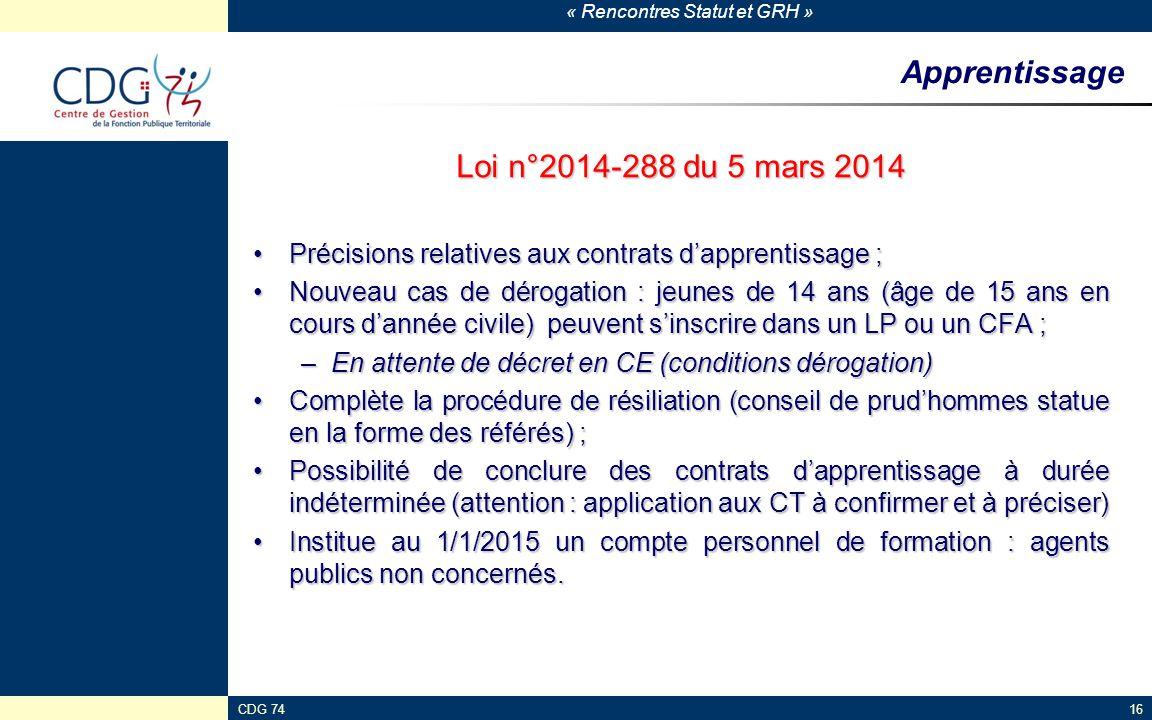 Apprentissage Loi n°2014-288 du 5 mars 2014