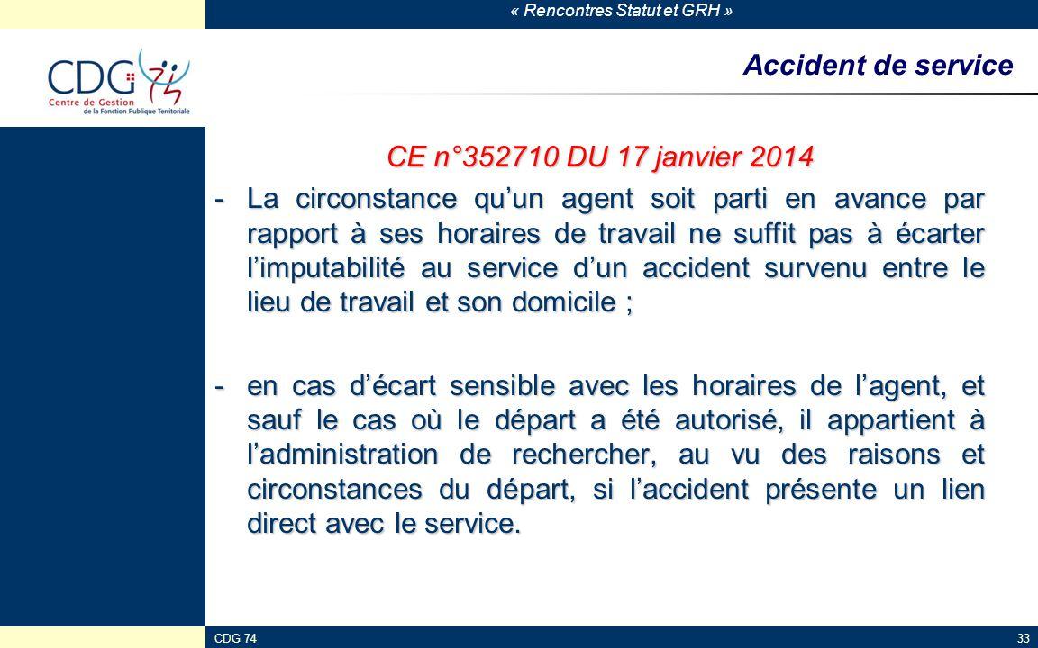 Accident de service CE n°352710 DU 17 janvier 2014
