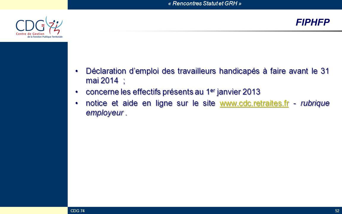 FIPHFP Déclaration d'emploi des travailleurs handicapés à faire avant le 31 mai 2014 ; concerne les effectifs présents au 1er janvier 2013.