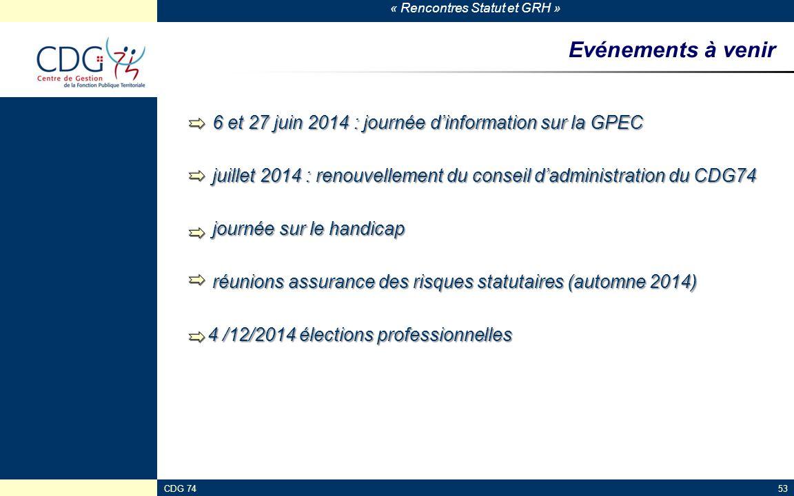 Evénements à venir 6 et 27 juin 2014 : journée d'information sur la GPEC. juillet 2014 : renouvellement du conseil d'administration du CDG74.
