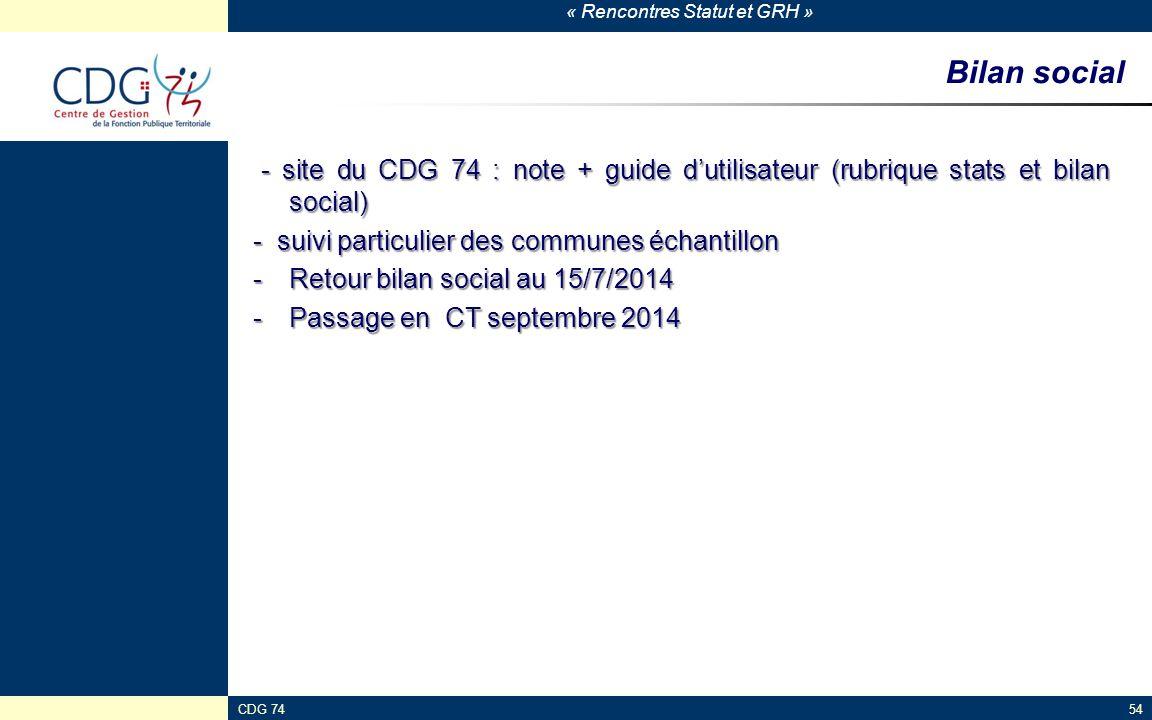 Bilan social - site du CDG 74 : note + guide d'utilisateur (rubrique stats et bilan social) - suivi particulier des communes échantillon.