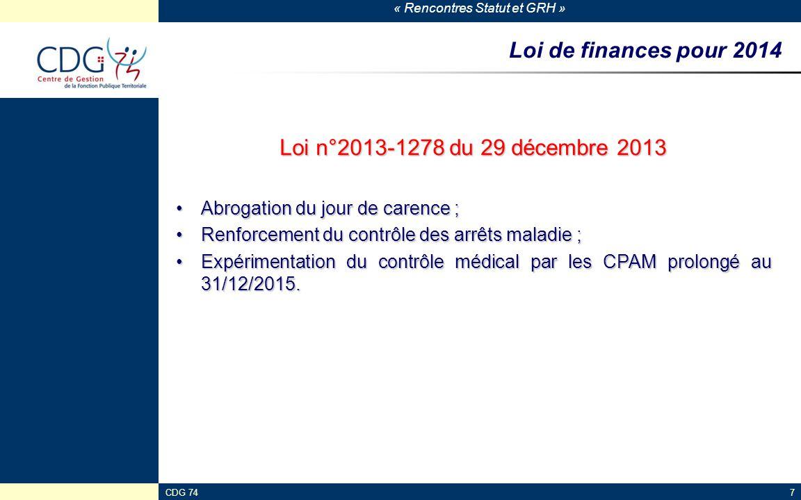 Loi de finances pour 2014 Loi n°2013-1278 du 29 décembre 2013