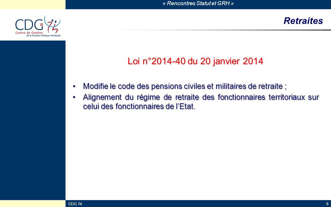 Retraites Loi n°2014-40 du 20 janvier 2014