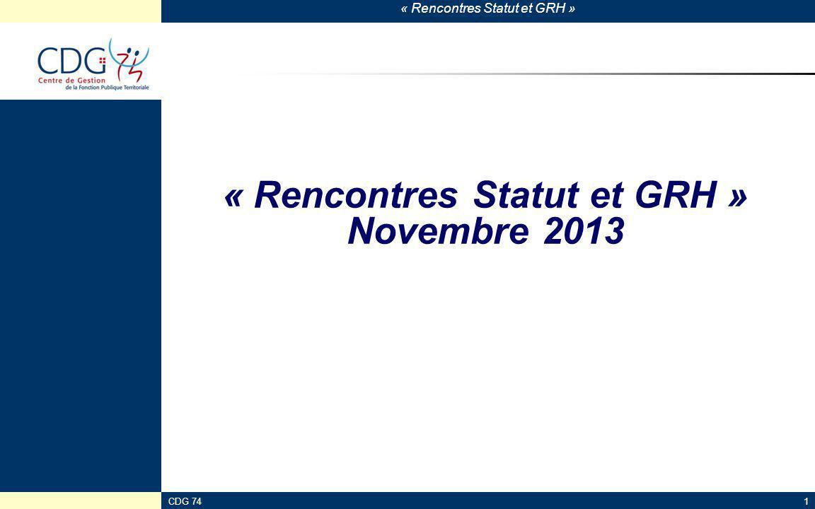 « Rencontres Statut et GRH » Novembre 2013