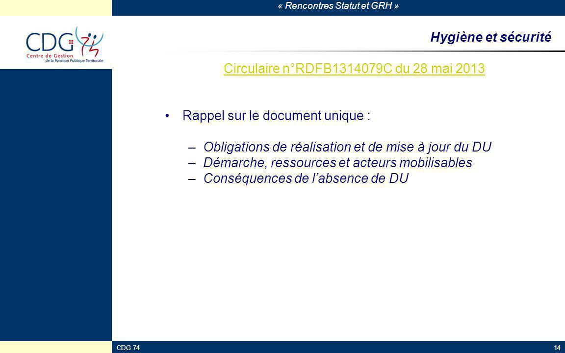 Circulaire n°RDFB1314079C du 28 mai 2013