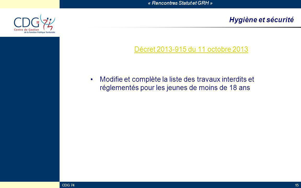 Hygiène et sécurité Décret 2013-915 du 11 octobre 2013
