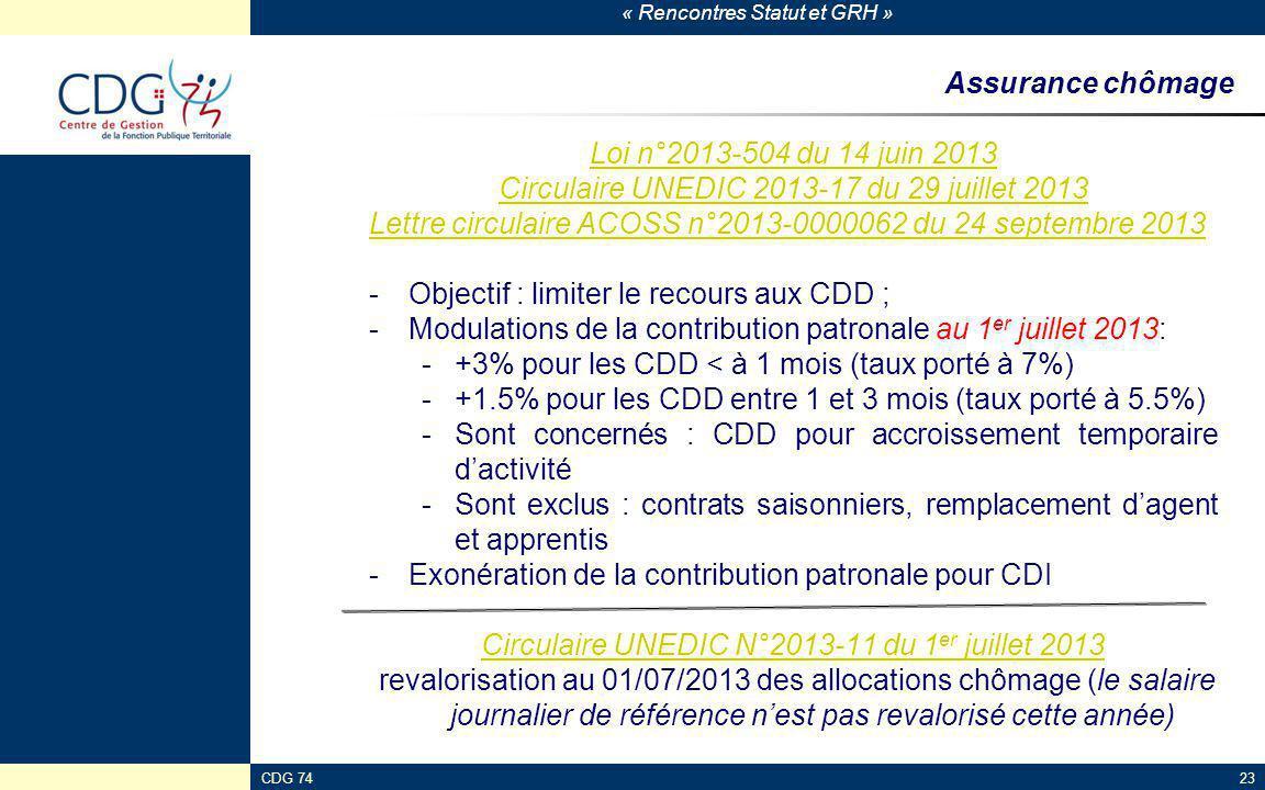 Circulaire UNEDIC 2013-17 du 29 juillet 2013
