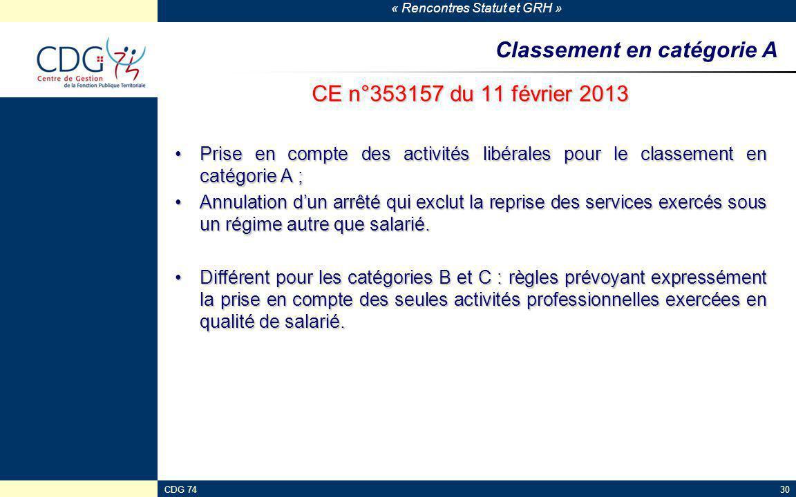 Classement en catégorie A