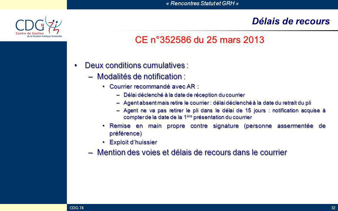 Délais de recours CE n°352586 du 25 mars 2013