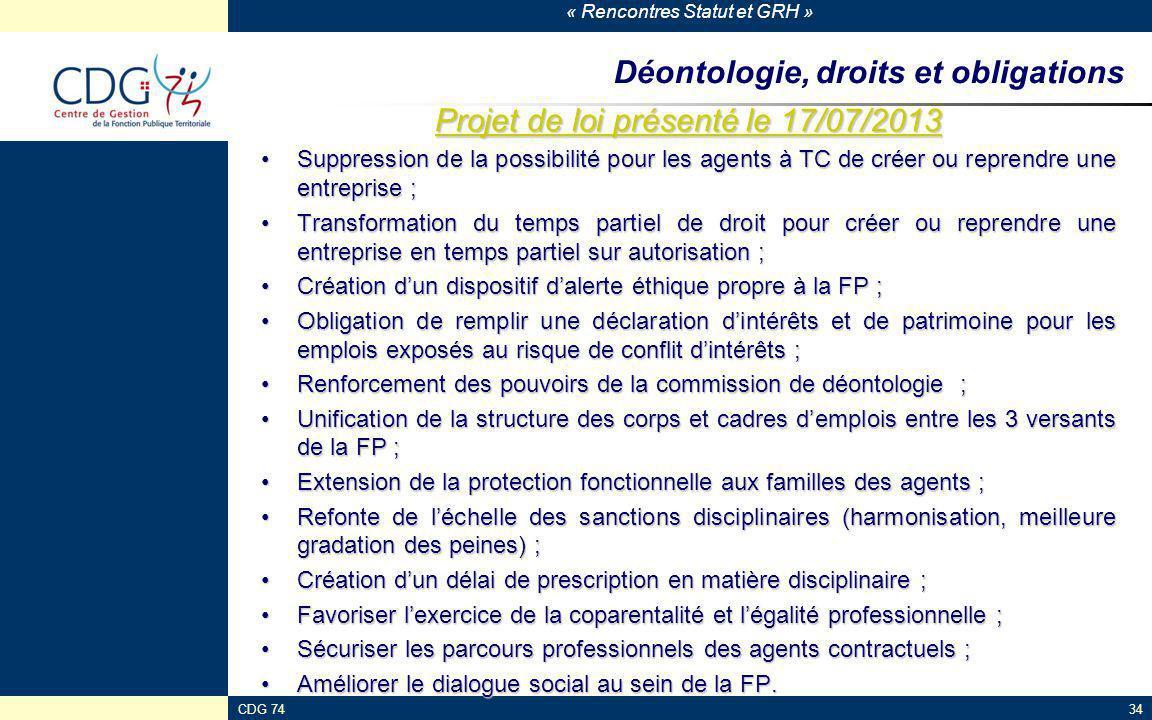 Déontologie, droits et obligations