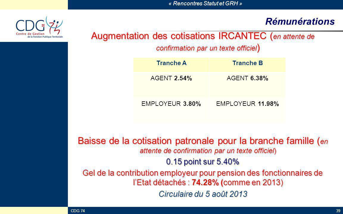 Rémunérations Augmentation des cotisations IRCANTEC (en attente de confirmation par un texte officiel)