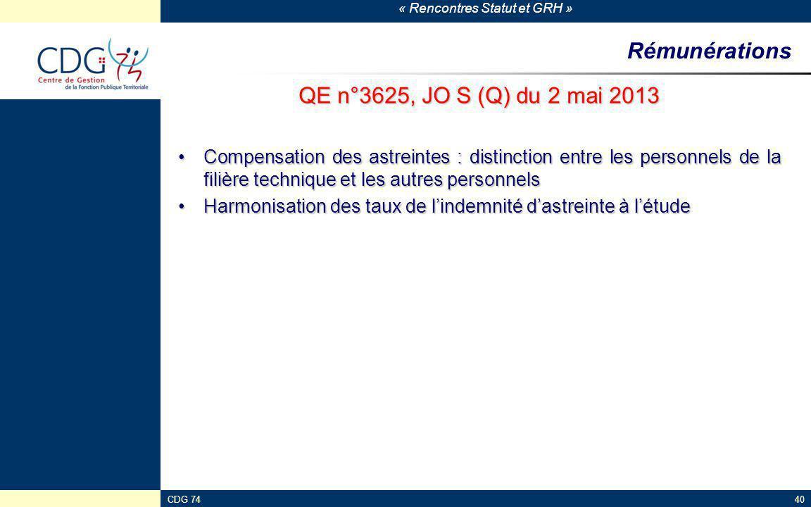 Rémunérations QE n°3625, JO S (Q) du 2 mai 2013