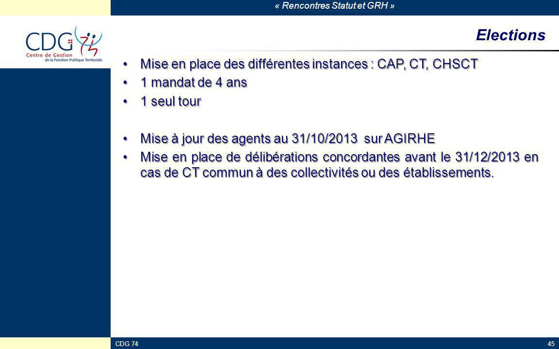 Elections Mise en place des différentes instances : CAP, CT, CHSCT