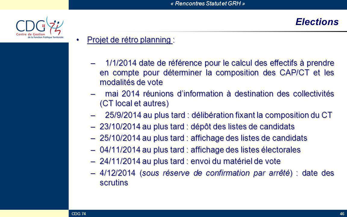 Elections Projet de rétro planning :