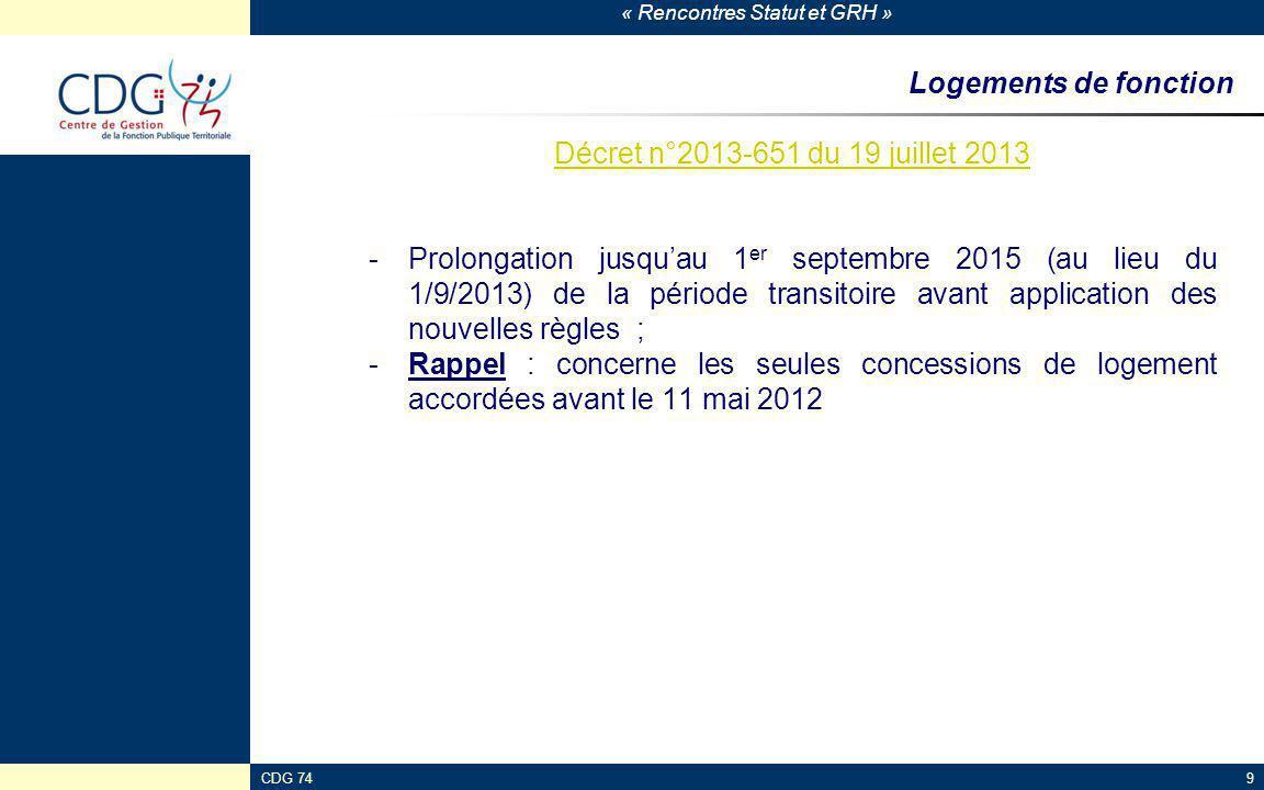 Logements de fonction Décret n°2013-651 du 19 juillet 2013