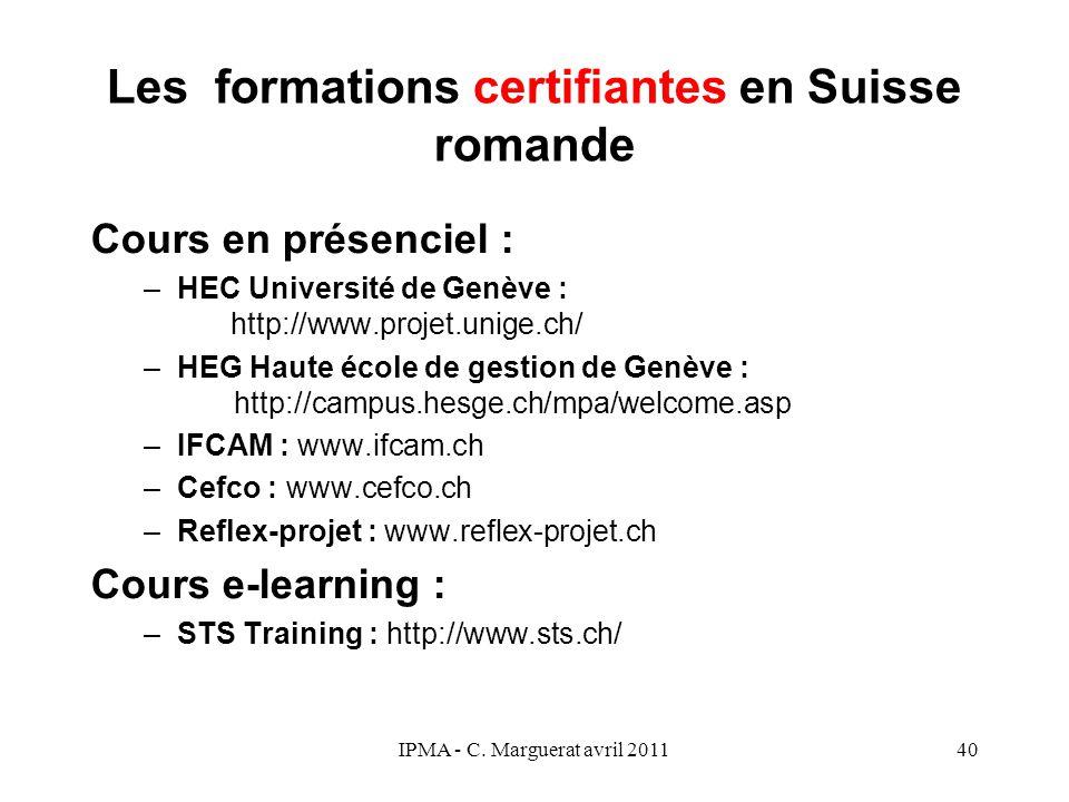 Les formations certifiantes en Suisse romande