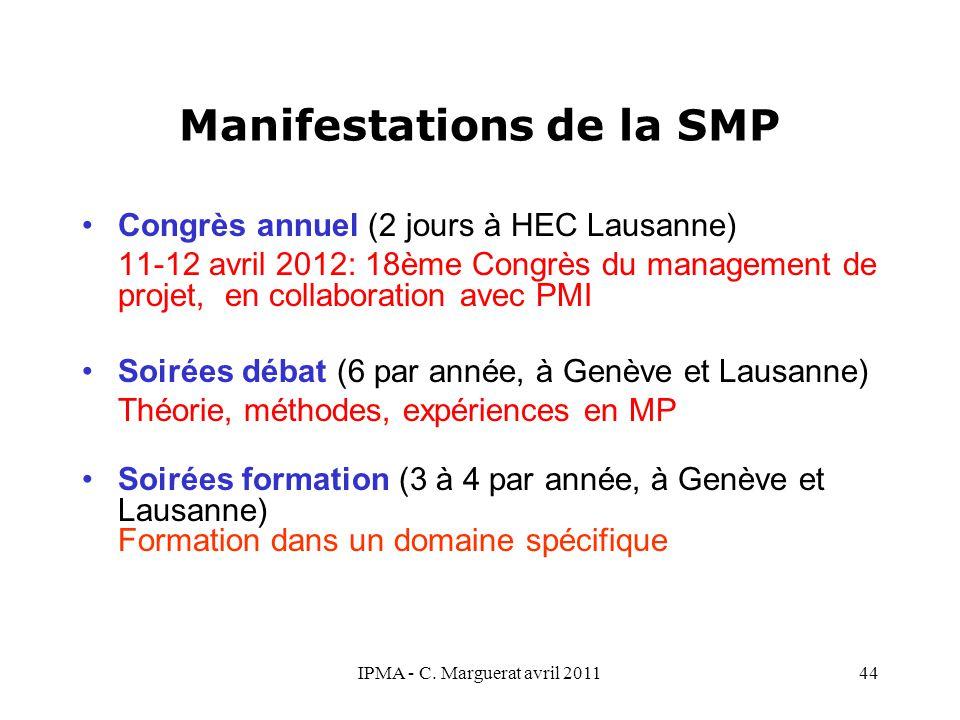 Manifestations de la SMP