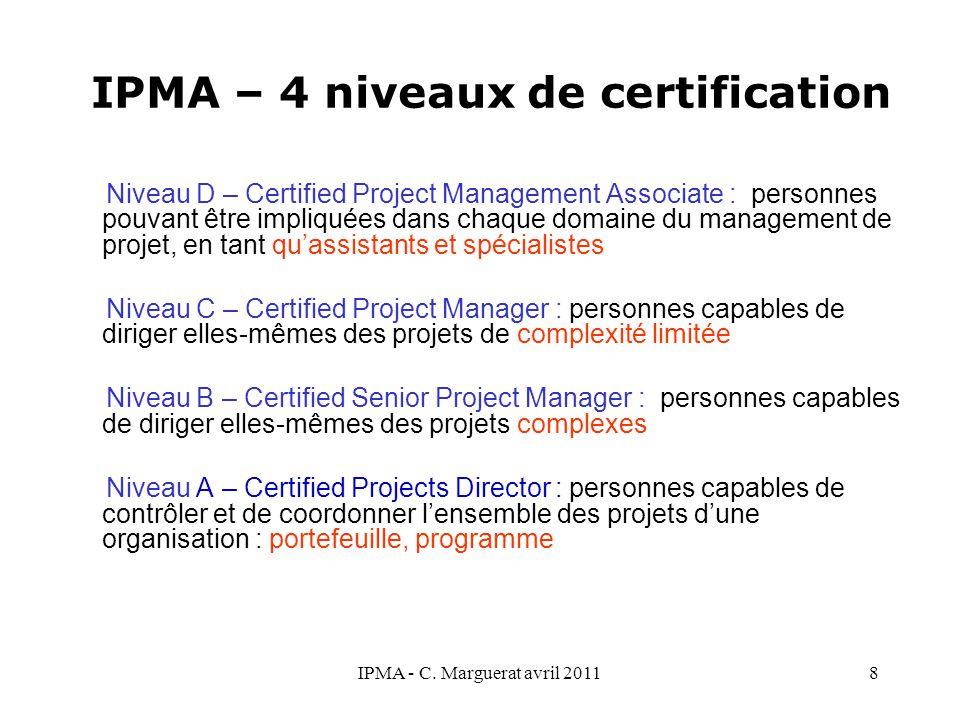 IPMA – 4 niveaux de certification