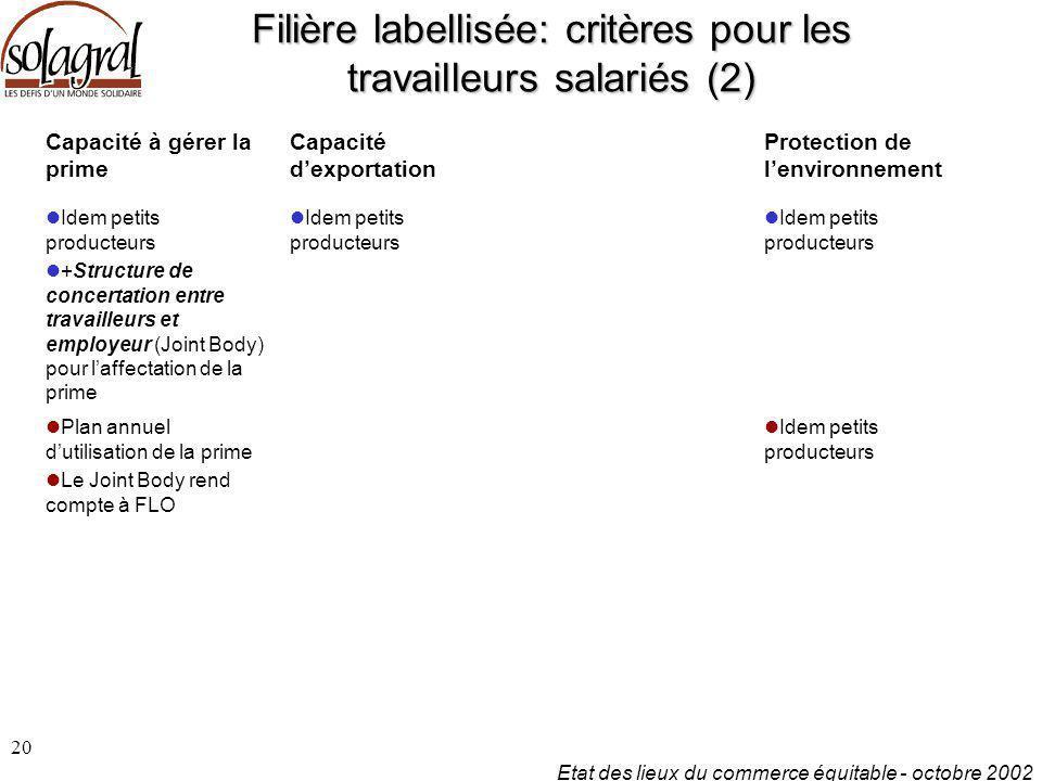 Filière labellisée: critères pour les travailleurs salariés (2)