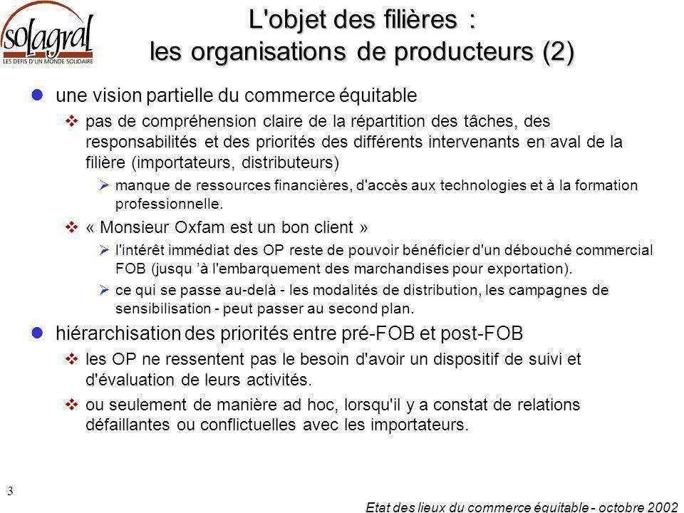 L objet des filières : les organisations de producteurs (2)