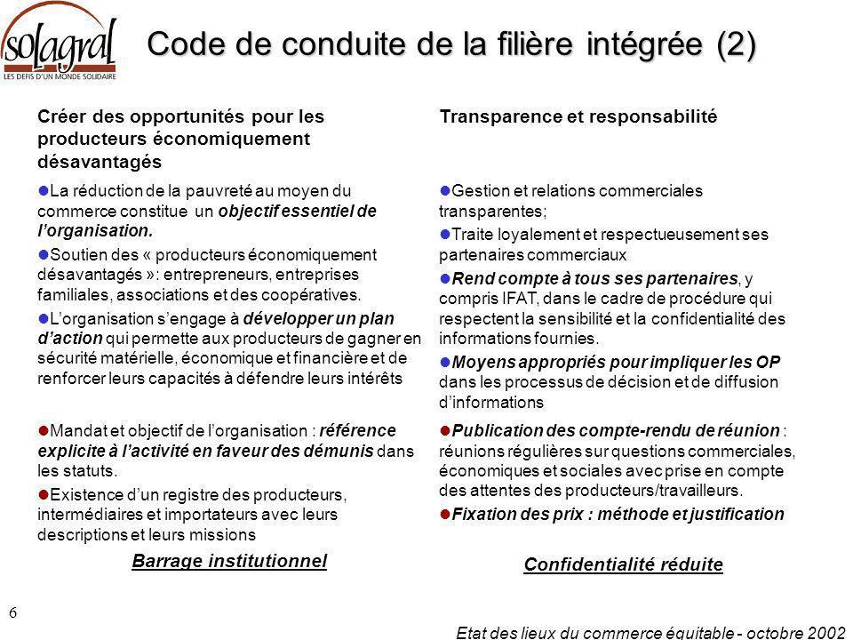Code de conduite de la filière intégrée (2)