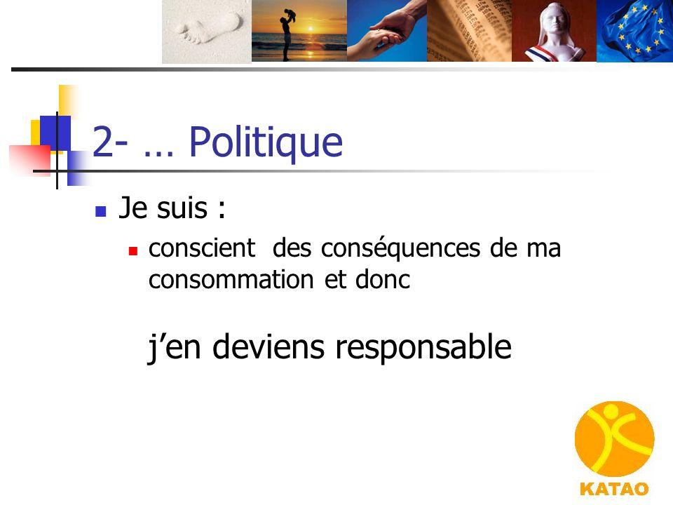 2- … Politique Je suis : conscient des conséquences de ma consommation et donc j'en deviens responsable.