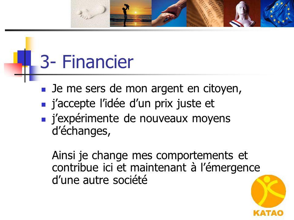 3- Financier Je me sers de mon argent en citoyen,
