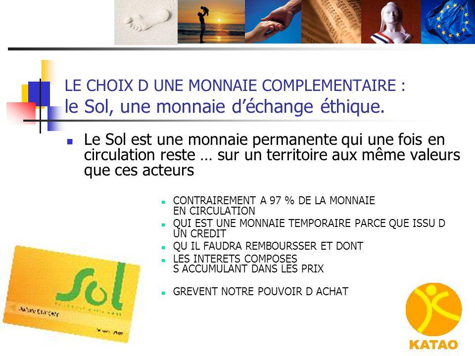 LE CHOIX D UNE MONNAIE COMPLEMENTAIRE : le Sol, une monnaie d'échange éthique.