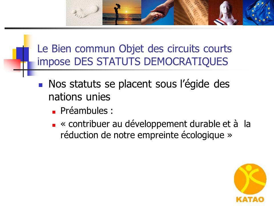 Nos statuts se placent sous l'égide des nations unies