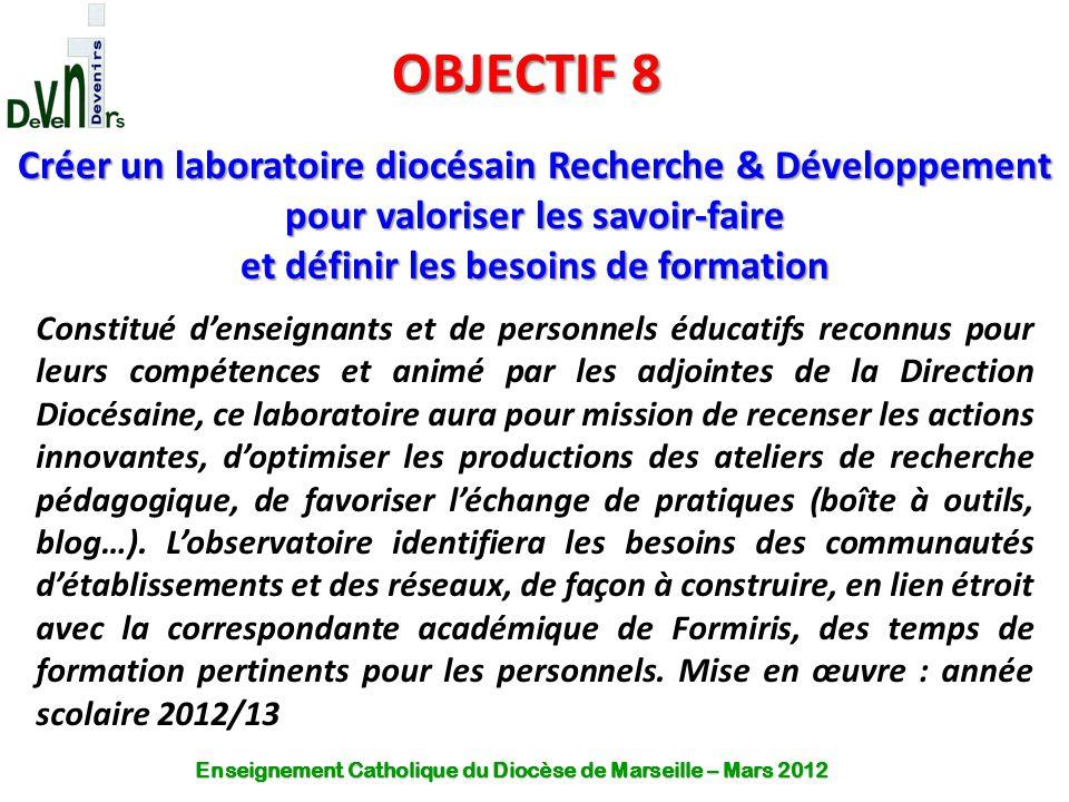 OBJECTIF 8 Créer un laboratoire diocésain Recherche & Développement