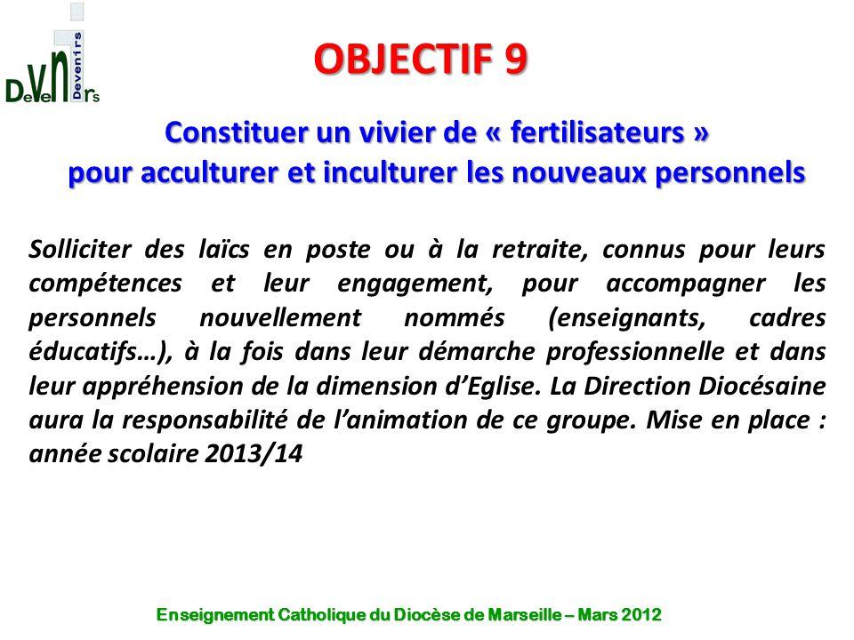 OBJECTIF 9 Constituer un vivier de « fertilisateurs »