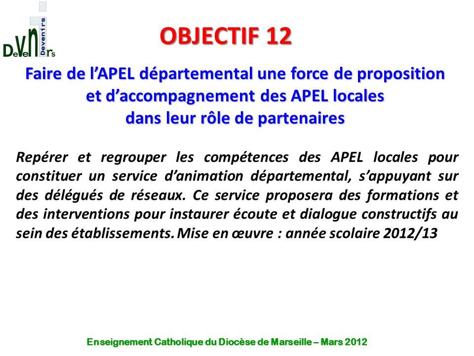 OBJECTIF 12 Faire de l'APEL départemental une force de proposition