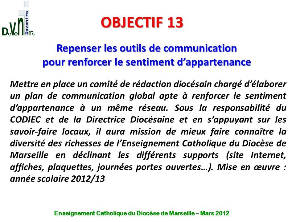 OBJECTIF 13 Repenser les outils de communication