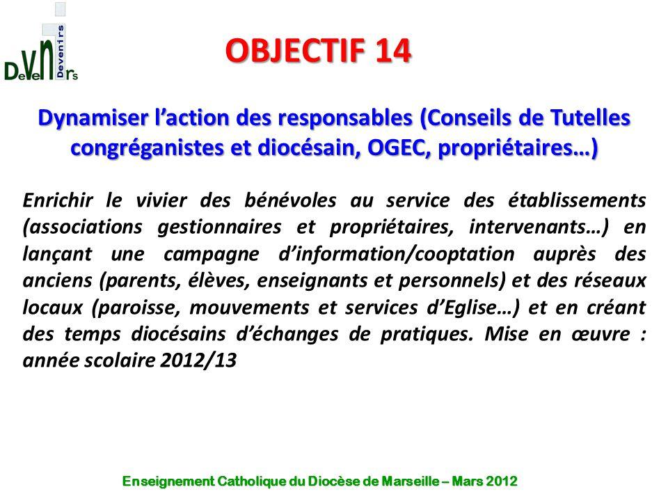 OBJECTIF 14 Dynamiser l'action des responsables (Conseils de Tutelles congréganistes et diocésain, OGEC, propriétaires…)