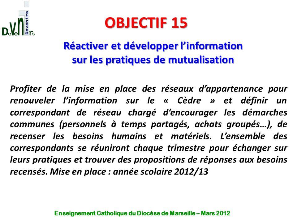 OBJECTIF 15 Réactiver et développer l'information