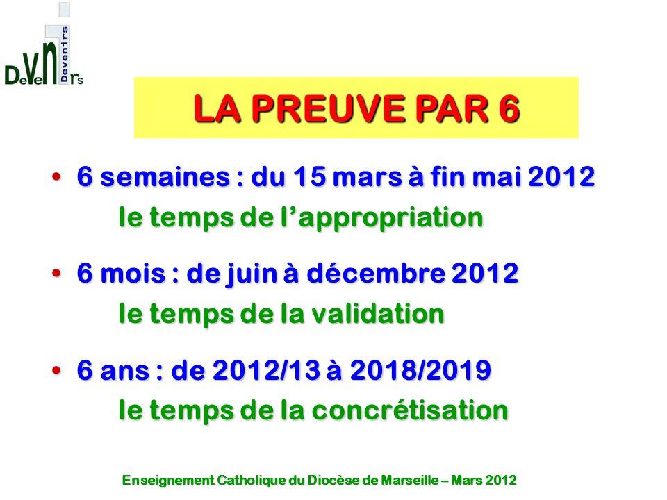 LA PREUVE PAR 6 6 semaines : du 15 mars à fin mai 2012