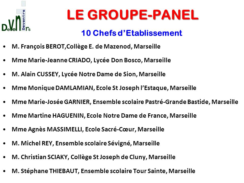 10 Chefs d'Etablissement