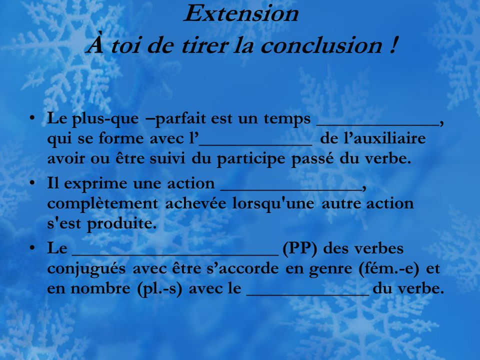 Extension À toi de tirer la conclusion !
