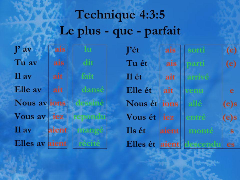 Technique 4:3:5 Le plus - que - parfait