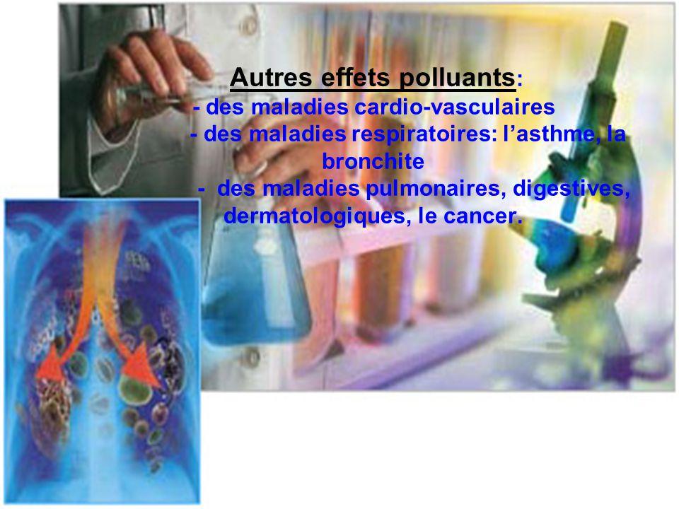 Autres effets polluants: - des maladies cardio-vasculaires - des maladies respiratoires: l'asthme, la bronchite - des maladies pulmonaires, digestives, dermatologiques, le cancer.