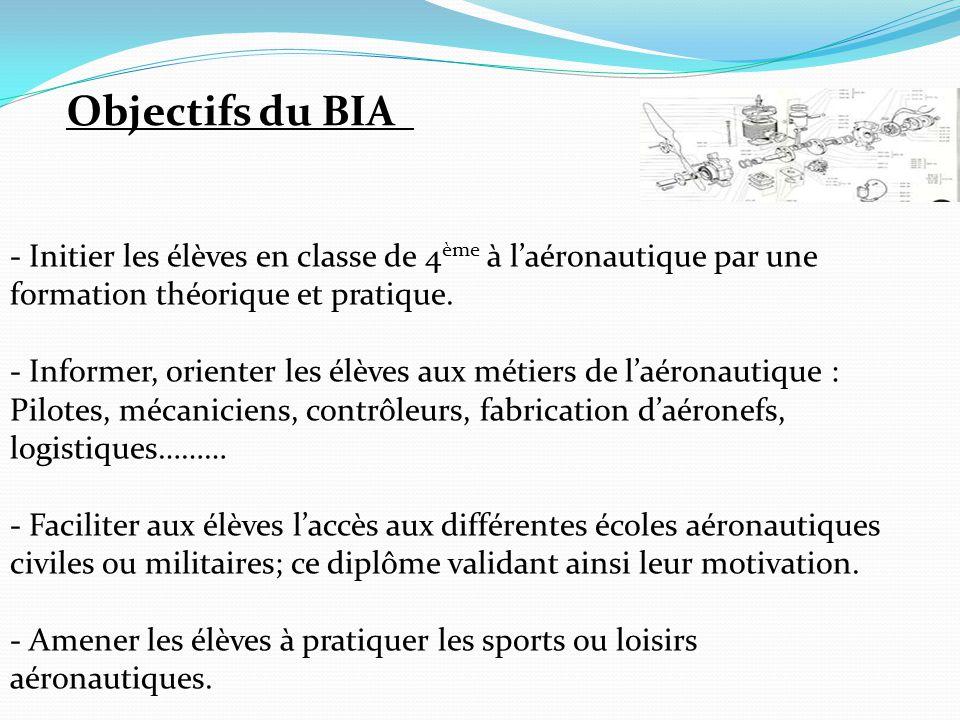 Objectifs du BIA - Initier les élèves en classe de 4ème à l'aéronautique par une formation théorique et pratique.