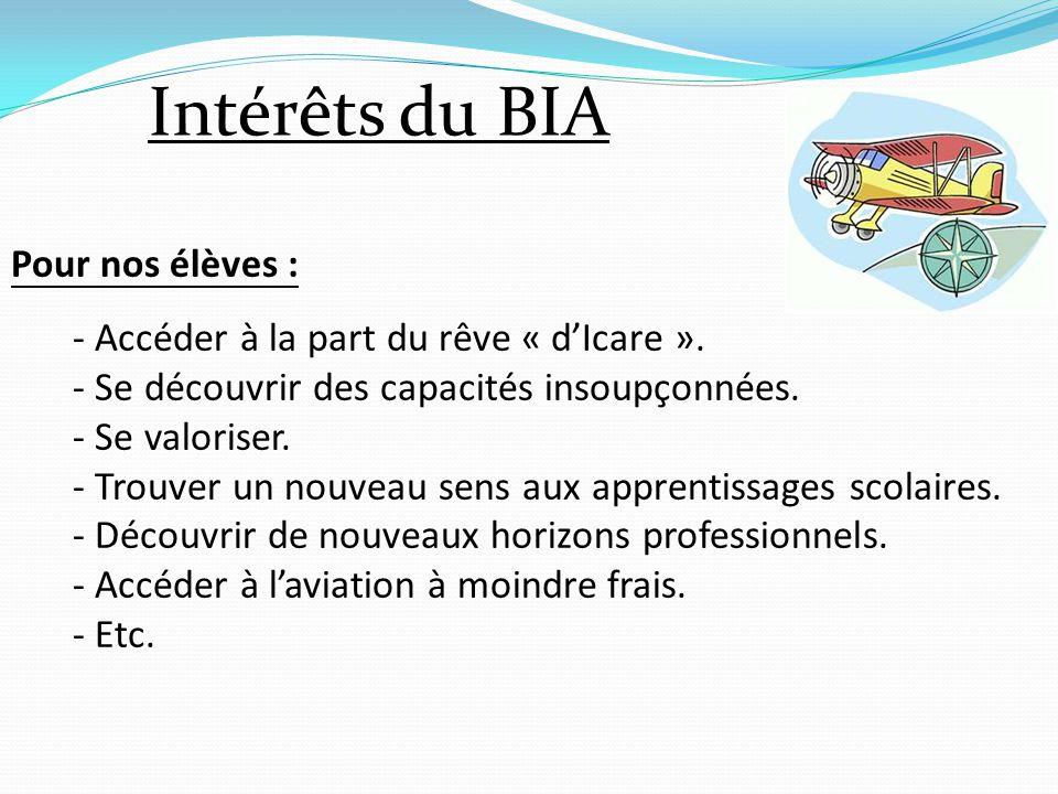 Intérêts du BIA Pour nos élèves :